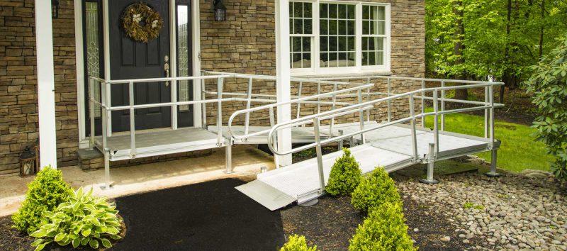 Aluminum mesh ramp in front of home.