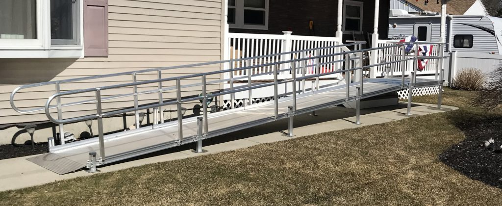 An aluminum ramp in front of a home.