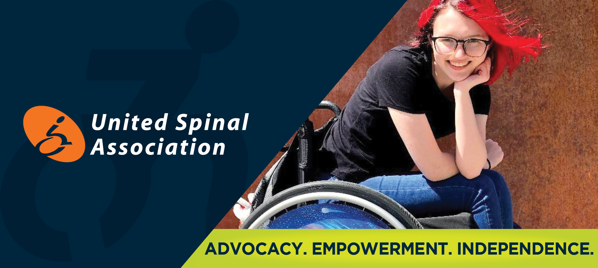 On left side of image, the UnitedSpinal Association logo. On right side of the image, a young Caucasian woman with red hair smiles while sitting in her wheelchair. Underneath, the image reads: ADVOCACY. EMPOWERMENT. INDEPENDENCE.