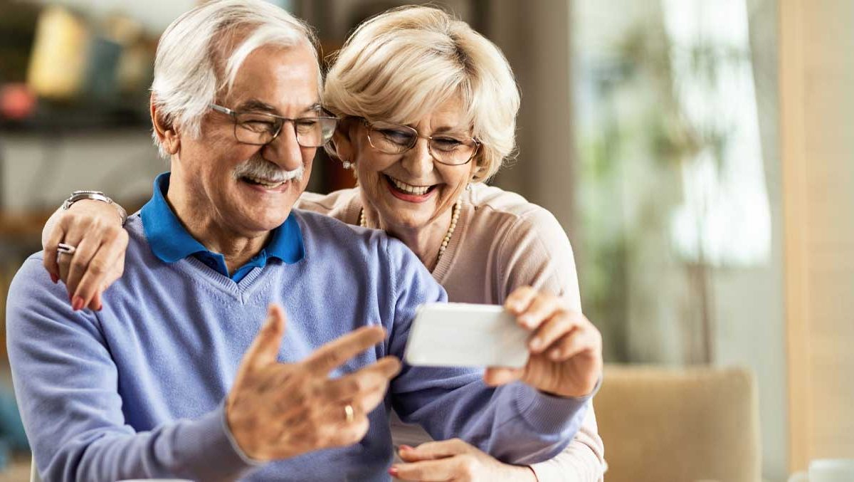 Senior Couple Making a Video Call